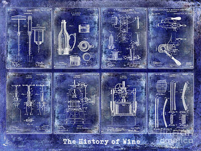 Wine History Patents Blue Art Print by Jon Neidert