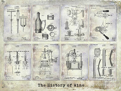 Wine History Patents Art Print by Jon Neidert