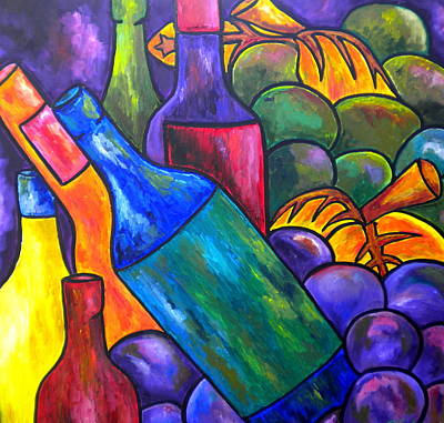Wine In Purple Print by Patti Schermerhorn