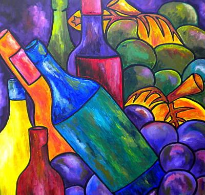 Wine In Purple Print by Patti Schermerhorn