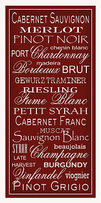 Syrah Digital Art - Wine List Red by Rebecca Gouin