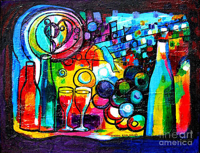 Wine-bottle Painting - Wine Menagerie by Genevieve Esson