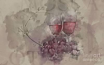 Purple Grapes Digital Art - Wine Night by The Styles Gallery
