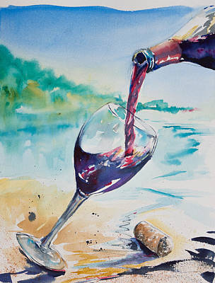 Poured Watercolours Painting - Wine On The Beach by Adam VanHouten