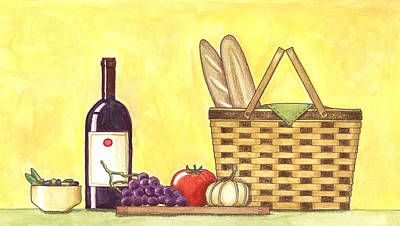 Bread And Cheese Painting - Wine Picnic by Jennifer Jahromi