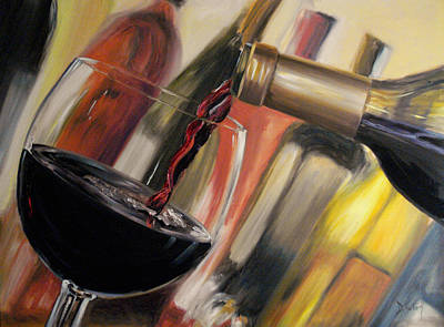 Wine Bottle Painting - Wine Pour II by Donna Tuten