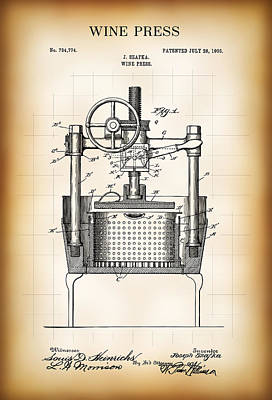 Wine Press Patent  1903 Art Print