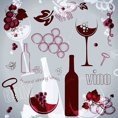 Glass Of Wine Drawing - Wine Style Art by Serena King