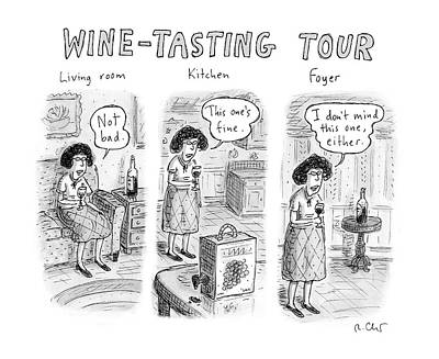 Alcohol Drawing - Wine-tasting Tour by Roz Chast