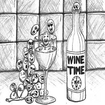 Vinos Drawing - Wine Time by Elizabeth Worthington