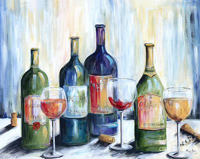 Wine Bottle Painting - Wine Time by Marilyn Dunlap