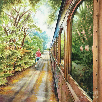 Wine Country Card Painting - Wine Train by Mara Mattia