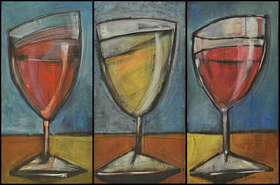 Stylized Beverage Painting - Wine Trio - Option One by Tim Nyberg
