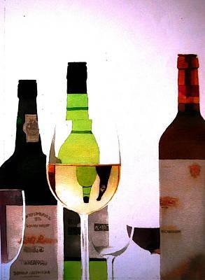 Napa Valley Vineyard Watercolor Painting - Wine by V  Reyes