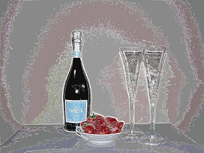 Digital Art - Wine With Flutes And Fruit by Kathy K McClellan