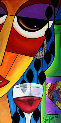 Picasso Style Painting - Wine Woman by Pam Reinke