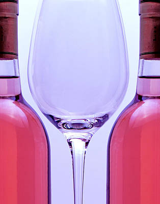 Closeup Photograph - Wineglass And Bottles by Tom Mc Nemar