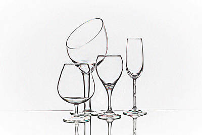 Several Photograph - Wineglass Graphic by Tom Mc Nemar
