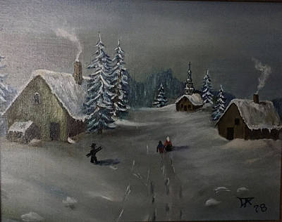 Painting - Winter In A German Village by Donald Paczynski