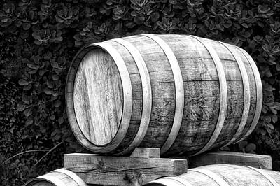 Ale Mixed Media - Winery Wine Barrel Bw by Thomas Woolworth