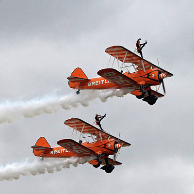 Breitling Photograph - Wing Walkers In The Clouds by Gill Billington