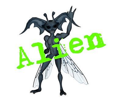 Digital Art - Winged Alien Peace Out by Lynn-Marie Gildersleeve