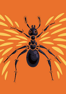 Digital Art - Winged Ant In Fiery Orange by Boriana Giormova
