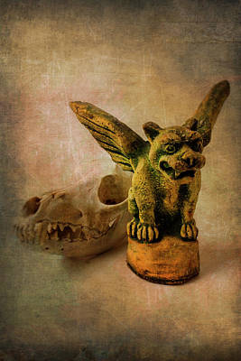 Statuary Photograph - Winged Gargoyle by Garry Gay
