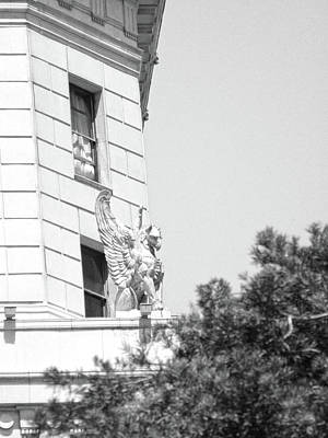 Photograph - Winged Gargoyles On Guard Bw by Hold Still Photography