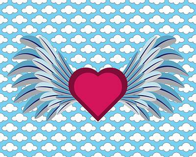 Digital Art - Winged Heart In A Cloudy Blue Sky by MM Anderson