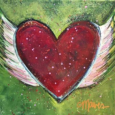 Art Print featuring the painting Winged Heart Number 1 by Laurie Maves ART