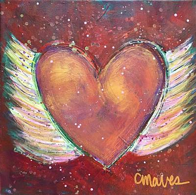 Art Print featuring the painting Winged Heart Number 2 by Laurie Maves ART