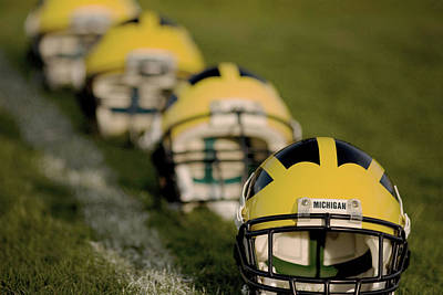 Photograph - Winged Helmets On Yard Line by Michigan Helmet