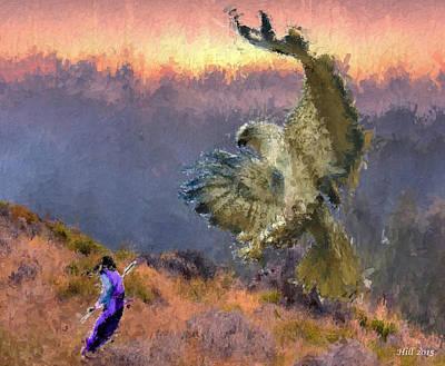 Digital Art - Winged Terror by T D Hill