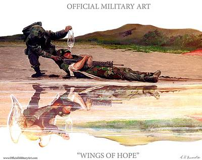 Painting - Wings Of Hope Design For T Shirts by Todd Krasovetz