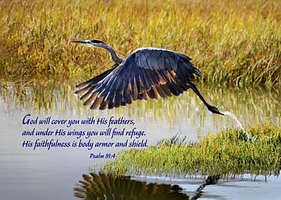 Wings Of Refuge With Scripture Art Print