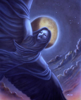 Night Angel Painting - Wings Of The Night by Wayne Pruse