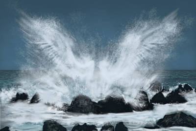 Angel Blues Drawing - Wings Of The Sea by Chad Glass