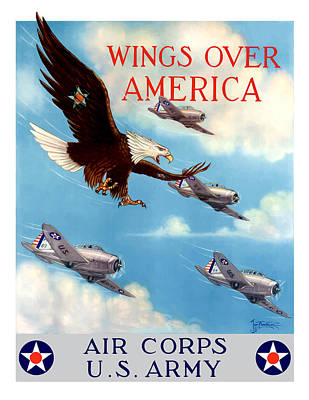 Fighter Plane Painting - Wings Over America - Air Corps U.s. Army by War Is Hell Store