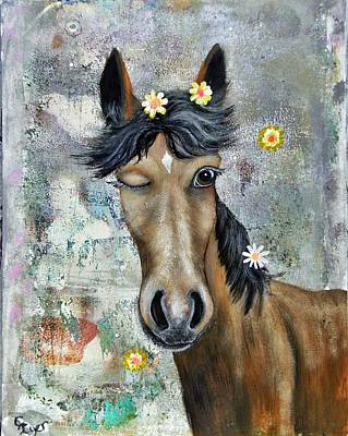 Wall Art - Painting - Winky The Horse by Carol Iyer