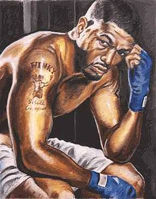 Boxer Painting - Winky Wright by Kenneth Kelsoe