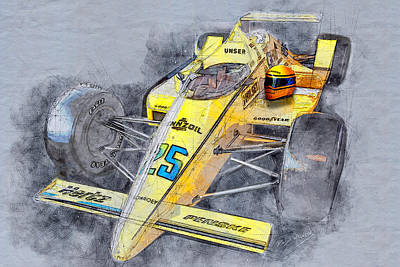 Mixed Media - Winner 71st Indy Al Unser by David Wagner