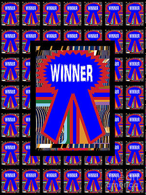 Painting - Winner Award Ribbon Blue Graphic See On Pillows Curtains Duvet Covers Phone Cases Greeting Cards Pos by Navin Joshi