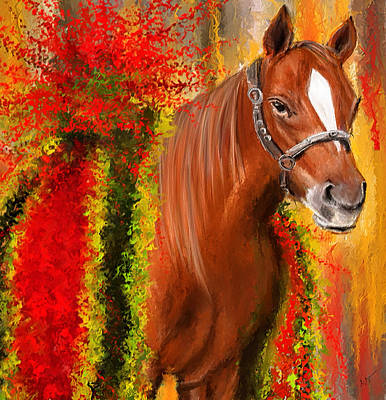 Bay Thoroughbred Horse Painting - Winner Is - Derby Champion by Lourry Legarde