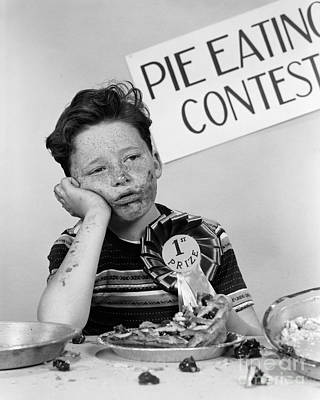 Photograph - Winner Of Pie-eating Contest, C.1950s by H Armstrong Roberts ClassicStock