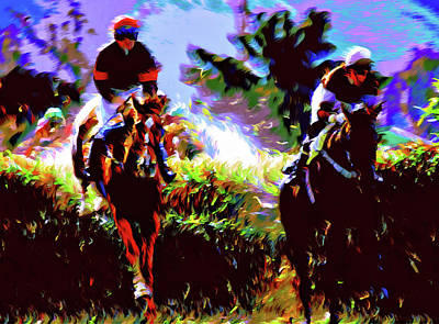 Sporting Mixed Media - Winners Of The Horse Race Expressionism by Georgiana Romanovna