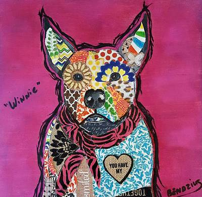 Abstract Collage Drawing - Winnie Pitbull Mixed Breed by Theresa Bendzius
