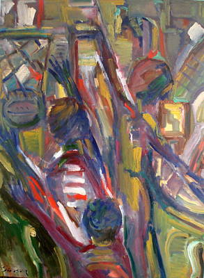 Basketball Abstract Painting - Winning A Basketball Game by Adel Sansur