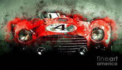 Ferrari Watercolor Photograph - Winning Le Mans  by Jon Neidert