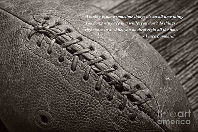 Footballs Closeup Photograph - Winning Quote From Vince Lombardi by Edward Fielding